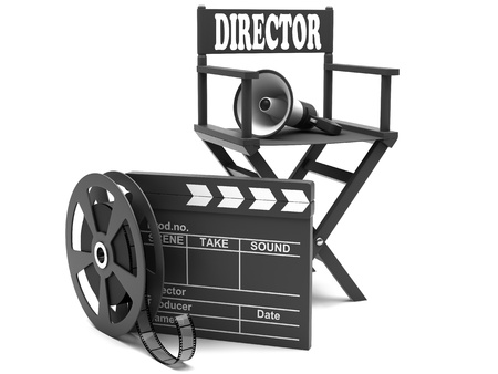 directors cut: Film industry: directors chair with film strip and movie clapper