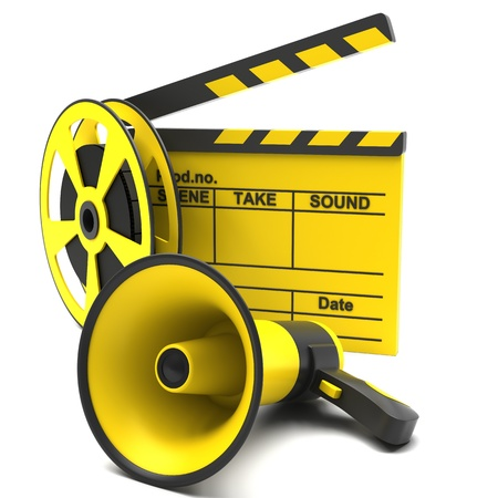 Movie clapper and film strip and megaphone on a white background photo
