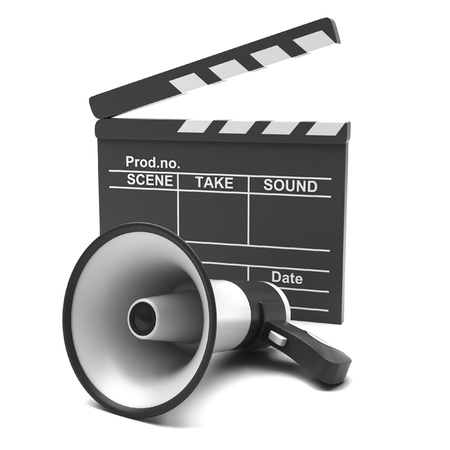Movie clapper and megaphone on a white background photo