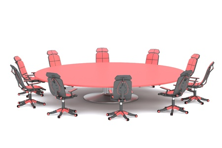 A round conference table with chairs on a white background Stock Photo - 16835443