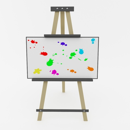 artboard: Easel with a colored blots