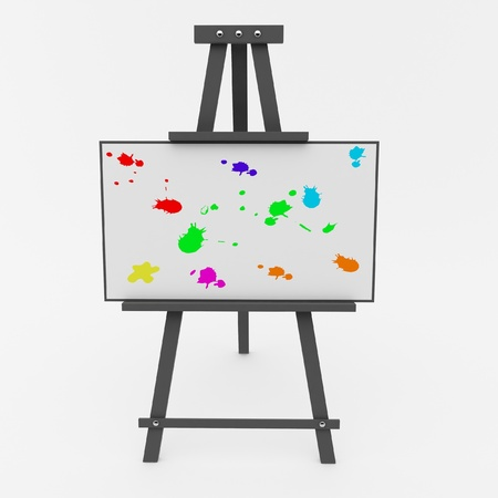 Easel with a colored blots Stock Photo - 16835418