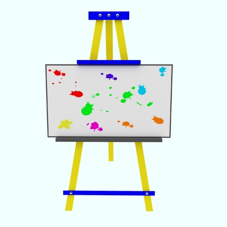Easel with a colored blots photo