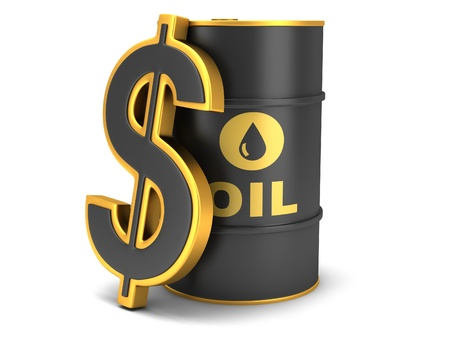 Barrel of oil and dollar sign on a white background  Stock Photo
