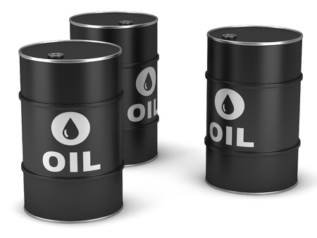 Oil barrels on a white background Stock Photo