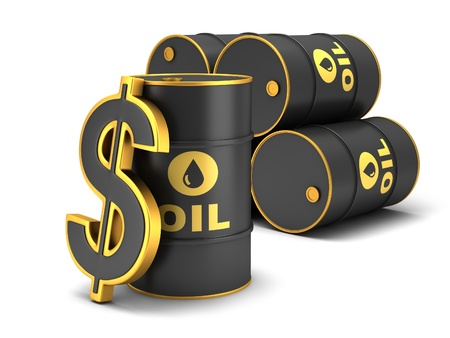 Barrel of oil and dollar sign on a white background. Stock Photo