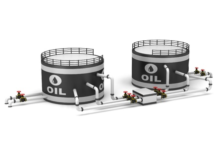 Oil storage tank and pipeline on a white background Stock Photo - 16932199