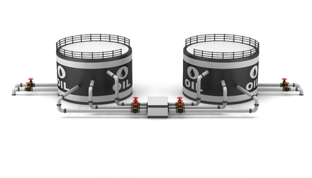 Oil storage tank and pipeline on a white background Stock Photo - 16932195