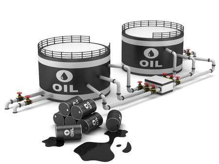 tanque de combustible: Aceite de tanque de almacenamiento y la tubería en un fondo blanco