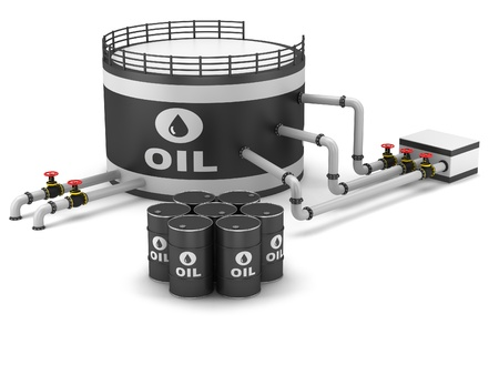 Oil storage tank and pipeline on a white background Stock Photo - 16932202