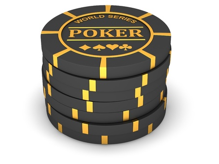 Fichas de póquer sobre un fondo blanco