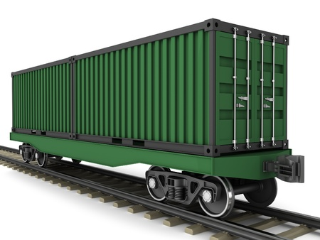 waggon: Railway wagon for transportation of containers on a white background  Stock Photo