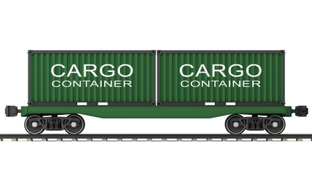 freight train: Railway wagon for transportation of containers on a white background  Stock Photo