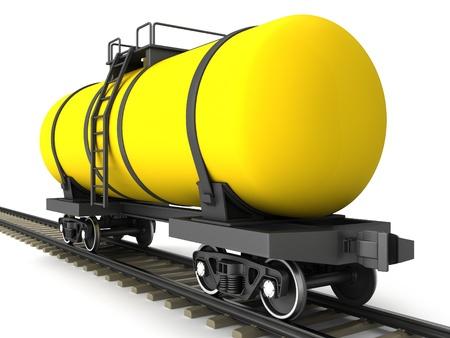Yellow railroad tank wagon on a white background Stock Photo - 17245210