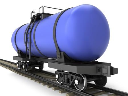 Blue railroad tank wagon on a white background Stock Photo - 17245211