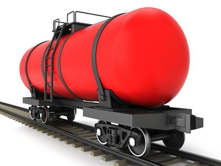 Red railroad tank wagon on a white background Stock Photo - 17245209