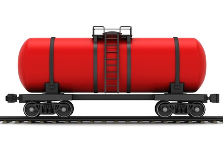 Red railroad tank wagon on a white background  Stock Photo - 17245204