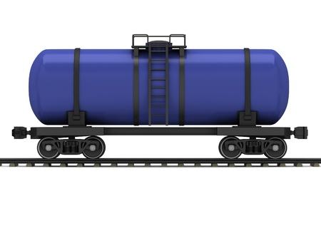 cisterna: Ferrocarril azul vagón cisterna sobre un fondo blanco Foto de archivo