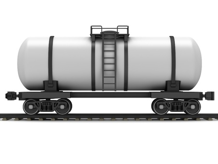 liquefied: Railroad tank wagon on a white background