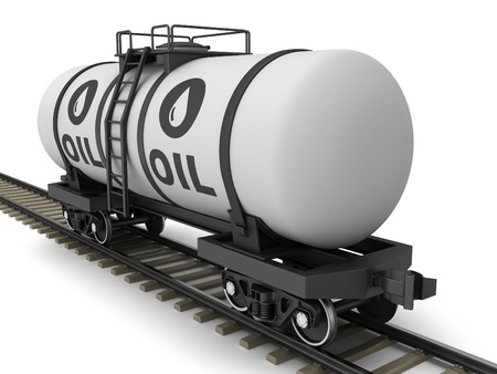 Railroad tank wagon on a white background. photo