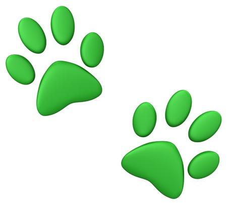 white paw: Green paw print