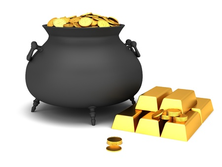 bewitchment: Cauldron of golden coins on a white background. Stock Photo