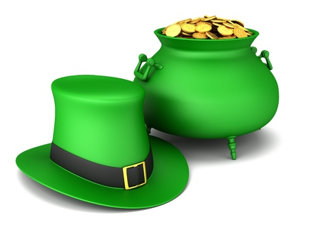 Pot of gold and leprechaun hat on a white background. photo