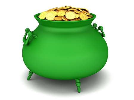 bewitchment: Green cauldron of golden coins on a white background.