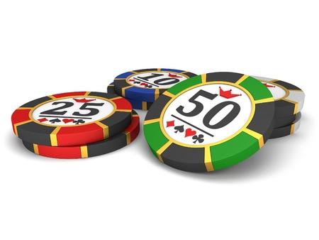 fichas de casino: Fichas de casino en un fondo blanco.