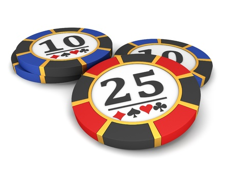 wager: Casino chips on a white background.