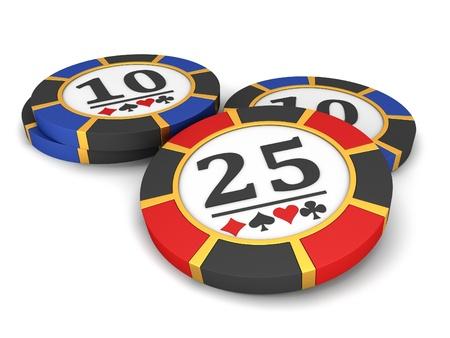 fichas casino: Fichas de casino sobre un fondo blanco.