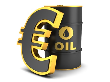 Barrel of oil and euro sign on a white background photo