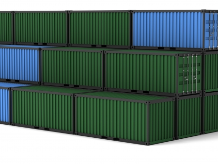 Cargo container on a white background Stock Photo - 18824351