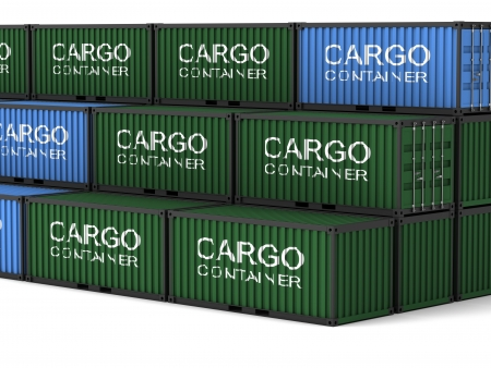 merchandize: Cargo container on a white background