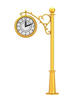 Gold street clock in the old style isolated on white background Stock Photo - 18540639