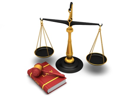 law business: Justice scale and gavel and a book of laws