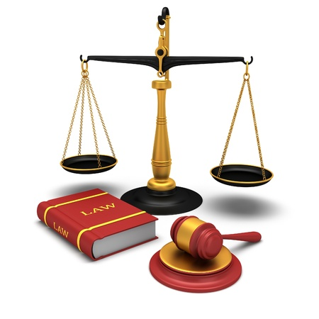 jury: Justice scale and gavel and a book of laws