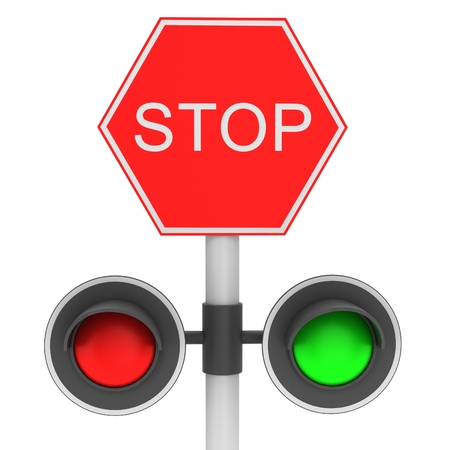 signal pole: Stop sign Stock Photo