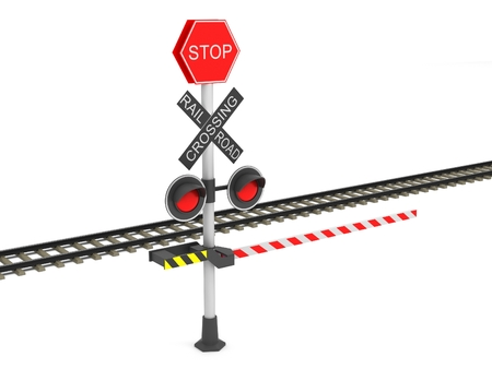 railroad crossing: Railroad crossing barrier over white background Stock Photo