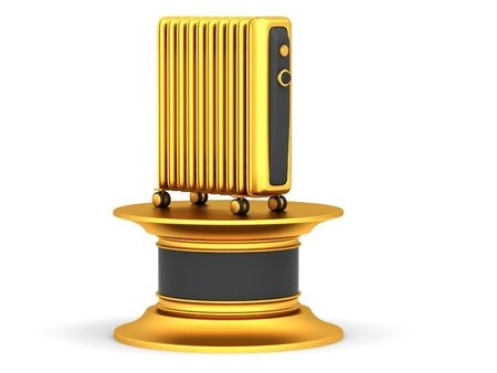 Gold electric oil heater on a pedestal white background Stock Photo