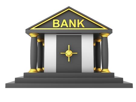 banco dinero: edificio de un banco aislado en el fondo blanco Foto de archivo