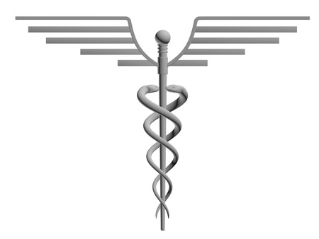 caduceus medical symbol: Caduceus medical symbol isolated on a white background Stock Photo