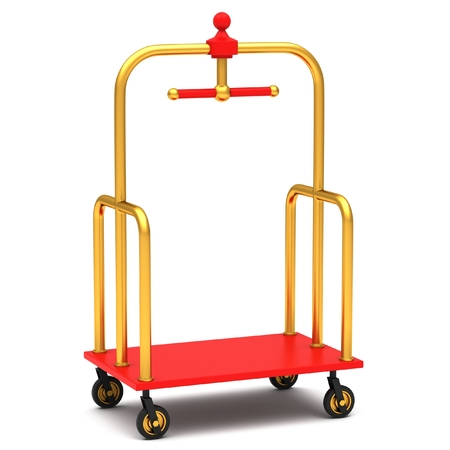The hotel trolley on a white background. 3D rendering