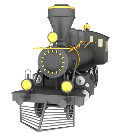 Old steam train on a white background photo