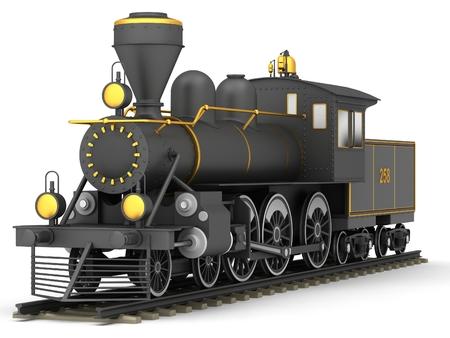 locomotora: Antiguo tren de vapor sobre un fondo blanco Foto de archivo