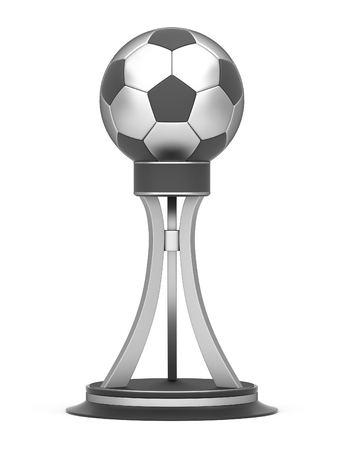 Award football trophy cup isolated on a white background photo