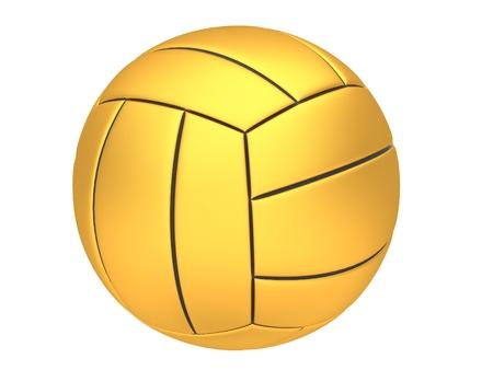 pelota de voley: Voleibol de oro sobre un fondo blanco