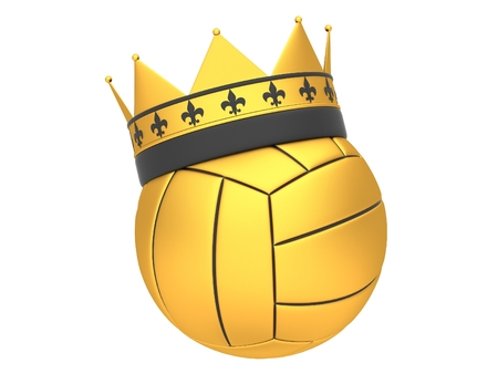 Gold volleyball with crown on a white background