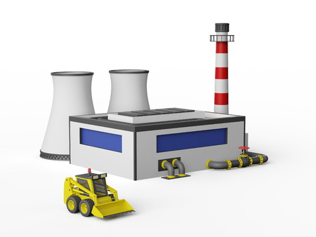 3d model: Industrial Factory Building and construction machinery on white background.