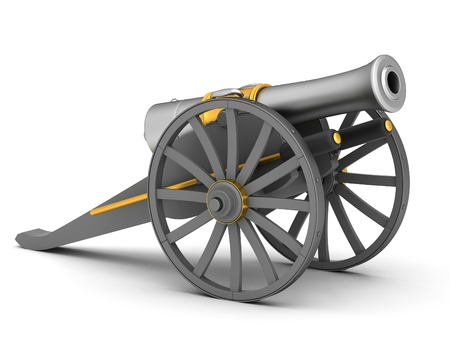 gunnery: Ancient cannon on wheels isolated on white